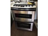 Stainless steel zanussi 60cm gas cooker grill & double oven good looking with guarantee