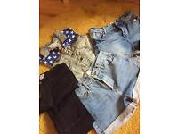 Size 10 denim bundle of river island topshop shorts & jeans (worn once or twice)