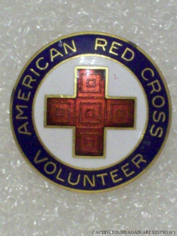 Vintage American Red Cross Volunteer Service Pin Signed Blue Enamel ARC Badge