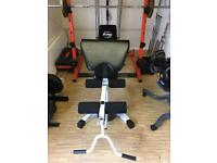 Gym bench with leg curl and preacher curl