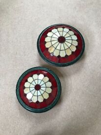 2 gorgeous metal and stained glass light shades.