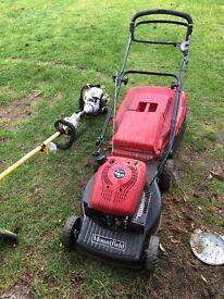 Mountfield lawnmower and Ryobi strimmer