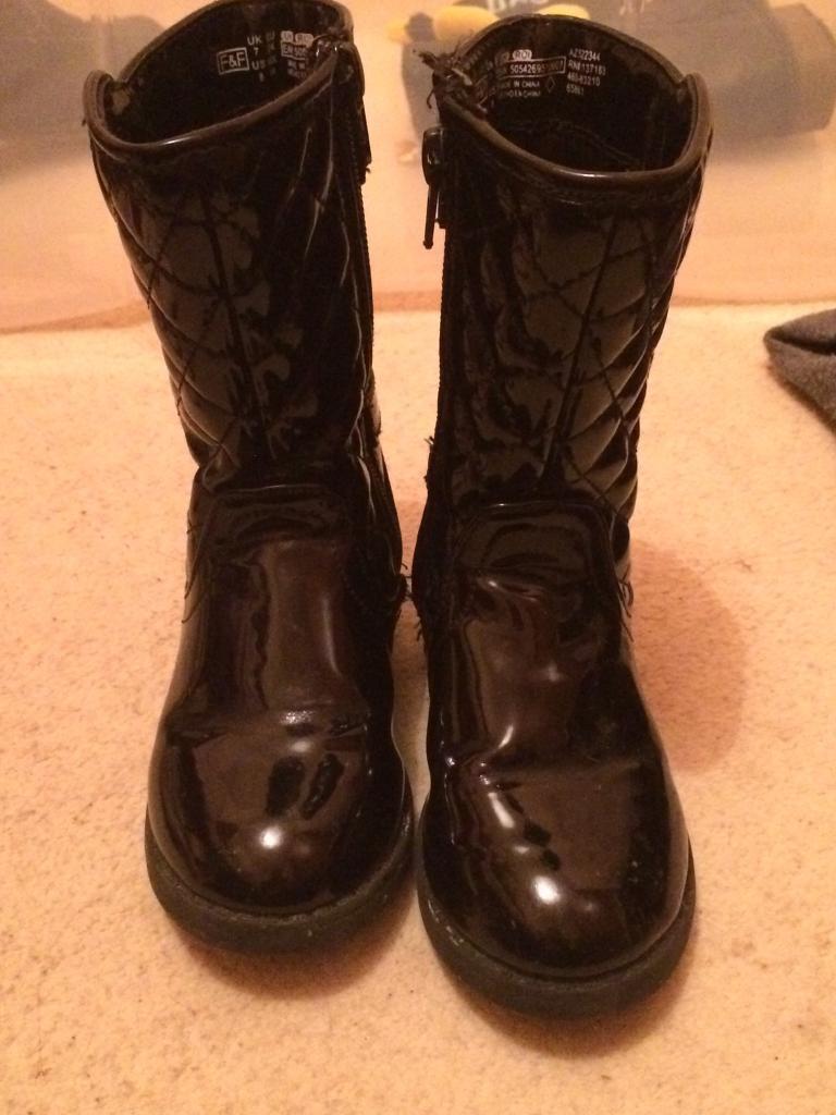 Infant Size 7 patent black boots