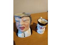 Royal Doulton Toby Mug Buzz Fuzz, Barrister and small Barrister jug