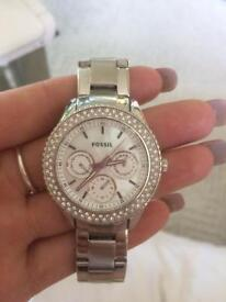 Silver fossil ladies watch