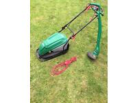 Qualcast electric lawn mover and strimmer