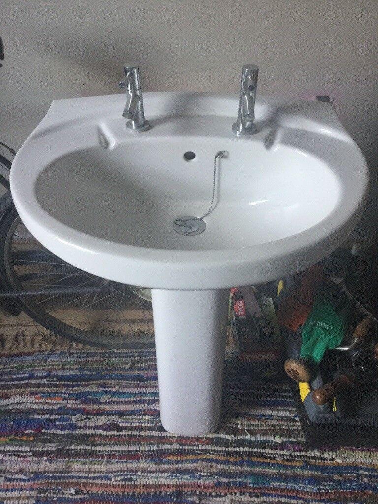 White bathroom pedestal sink basin plus matching bath taps | in ...