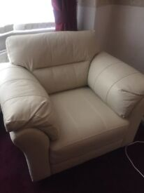 Cream leather settee plus one chair