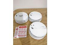 Three Aico Ei141RC Ionisation Smoke and Ei144RC Heat alarms