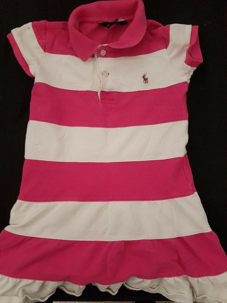 girls pink and white ralph lauren dress size 5