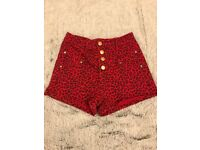 Perfect black and white wide stripe or red and black leopard print hotpants - Size 8