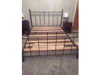 Kingsize charcoal grey metal bed frame