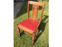 Solid Oak Vintage Dining Chairs x 3
