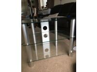 Glass TV stand with two glass shelves