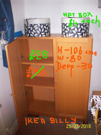 IKEA BILLY BOOKCASE WITH DOORS, BEECH COLOUR