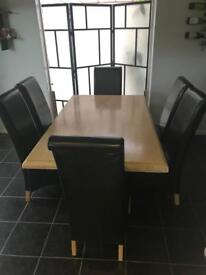 DiningTable and 6 Black Leather Chairs