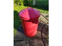 Red metal dustbin