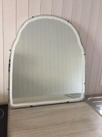 Shabby chic upcycled lace trim mirror