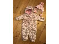 NEXT girls winter hat and thick winter fluffy all-in-one/ snowsuit 9-12 months