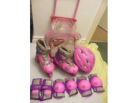 Ozbozz Tri To In-Line Rolling Skates, Helmet, Knee & Elbow & Wrist Pads & Trolley Set /Pink & Purple