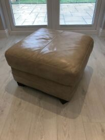 Cream leather sofas and matching foot stool in good condition