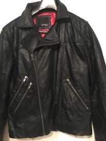 Genuine Leather Male Biker Style Jacket - Size Small