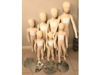 Used Lot of 7 Childrens Bendy Kids Flexible Mannequin Movable Soft Child Pinable aged 1-9 Years