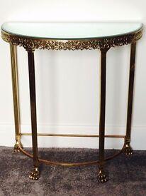 Antique Cast Brass, Mirror Top, Semi-circular Hall Table