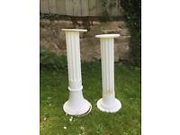 Two White Wooden Column Plant Stands