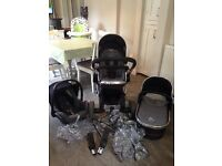 iCandy Peach buggy in Black Jack with Maxi Cosi car Seat