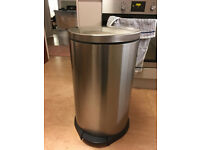 Large stainless steel pedal bin