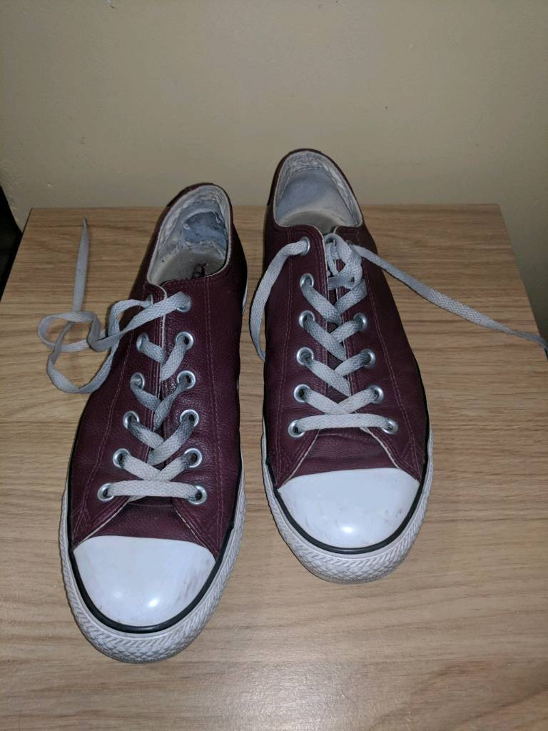 red leather converse size 8
