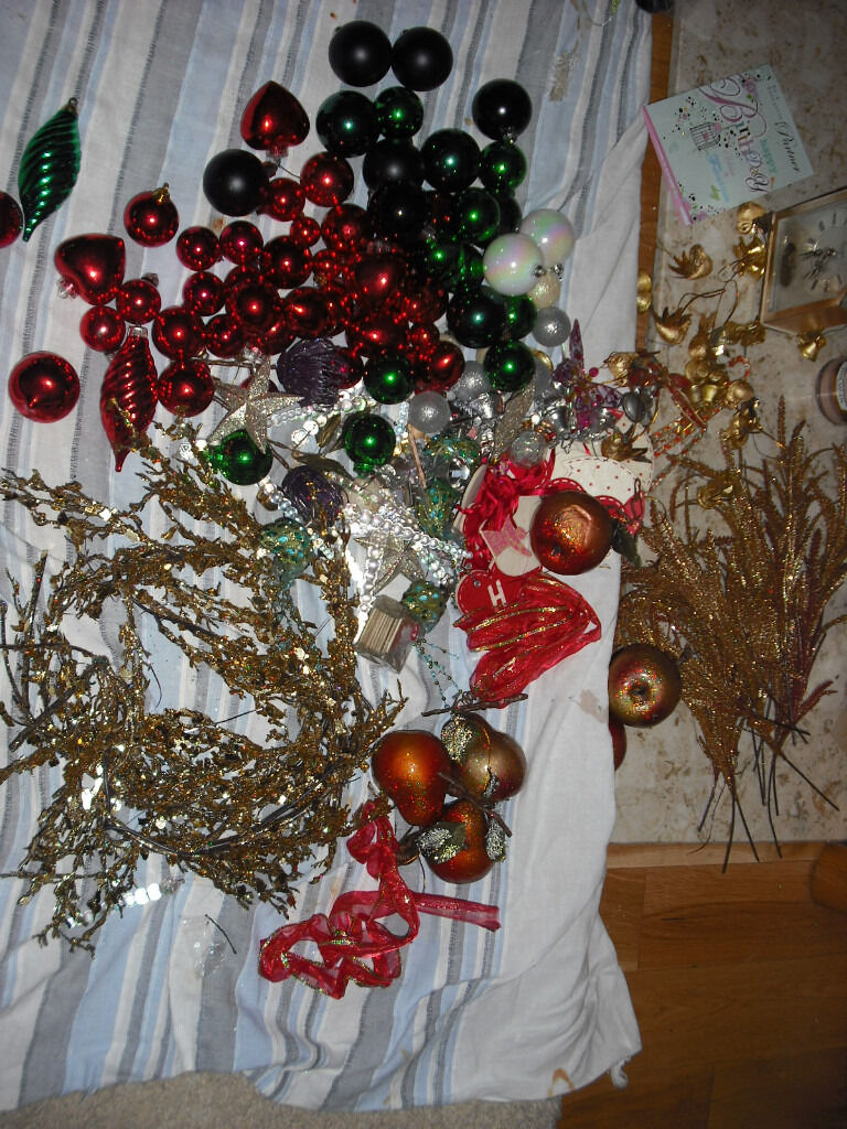 Large Quantity of Christmas Baubles, Balls, Glass Candy Canes, Icicles