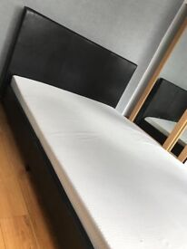 Black LEATHER DOUBLE bed for sale