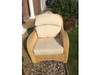Cane upholstered conservatory chair