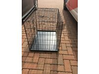 Medium Dog Training Crate double door inc. Food and Water Bowls
