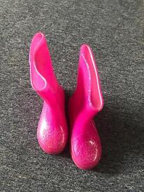Girls pink wellies size 10