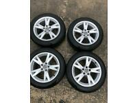 """Genuine Audi 17"""" alloy wheels 4 Continental tyres like new"""