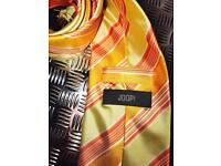 Men's designer JOOP orange striped silk necktie classic fit