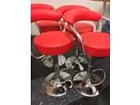 4 x Red Hydraulic Kitchen / Bar Stools