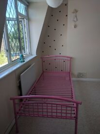 STILL AVAILABLE - Pink metal single bed frame.