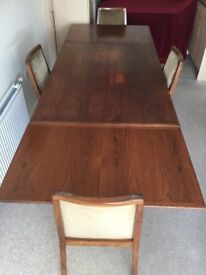 VINTAGE DANISH TEAK EXTENDING DINING TABLE & 4 'NATHAN' CHAIRS