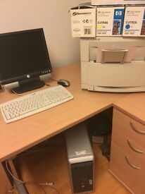 HP colour laser printer and office PC