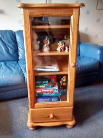 Pine Hi-Fi Tower Style Glass Fronted Display Cabinet