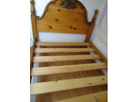 DOUBLE BED FRAME WITH CARVED HEAD AND FOOT BOARDS - excellent quality solid pine
