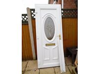 ATTRACTIVE WHITE UPVC DOUBLE GLAZED FRONT DOOR - ALMOST NEW