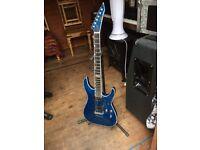 ESP horizon electric guitar, rippled blue effect.