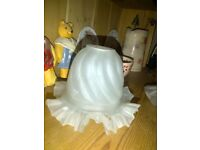 Fluted opaque milky white frilly glass lamp light shade French vintage style for spring clip fitting