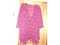 Size 26 Cerise sheer flowey top/blouse