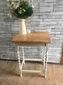 An oak barley twist hall table/side table upcycled
